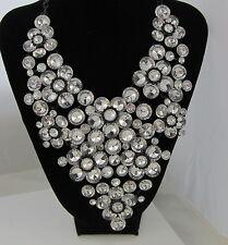 Estate Vintage STUNNING Dramatic HUGE Runway Crystal Black Japanned Necklace