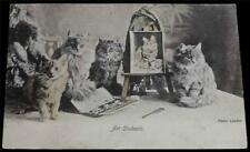 """OLD POSTCARD OF CATS / KITTENS """"ART STUDENTS"""""""