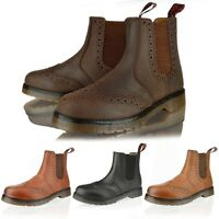 MENS LEATHER CHELSEA DEALER ANKLE BROGUE SLIP PULL ON WORK BOOTS SHOE SIZE 6-12