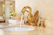 "Golden PVD swan sink faucet 8"" widespread lavatory basin mixer tap new Bathroom"