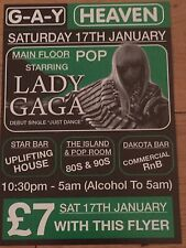 LADY GAGA-ORIGINAL JUST DANCE G-A-Y HEAVEN PROMO FLYER GAGA APPEARANCE -JOANNE