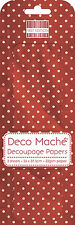 3 SHEETS OF DECOUPAGE / DECO MACHE PAPER FIRST EDITION RED POLKA