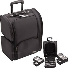 Professional Rolling Soft Sided Makeup Case Carry Luggage Travel Organizer Bag