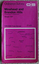 Ordnance Survey landranger mappa 181 minehead, watchet & BRENDON HILLS 1:50000 UK