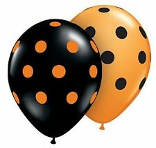 Halloween Black and Orange Polka Dot Latex Balloon 2 for $1.50 - Helium Quality