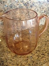 "Pink Depression Etched Glass Pitcher 7.25"" Tall"
