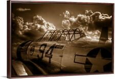 AT-6 Texan Fighter Plane Painting in Floating Walnut Frame 32x22!!! BEAUTIFUL