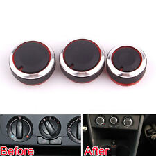3x Aluminum Car A/C Air-condition Heat Control Knob Switch Botton For Polo 2014