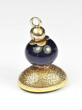 UNUSUAL ANTIQUE GEORGIAN ENGLISH GOLD LAPIS SEED POD FOB SEAL CHARM INITIAL 'SN'