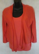 DKNY Med Salmon Cotton Tank Top and Cashmere Silk Waterfall Cardigan Sweater Set