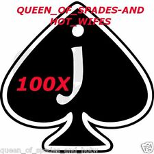 100pc JACK OF SPADES JOS Temporary Tattoo Fetish Husband BBC Sissy cuckold cuck