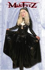 Misfitz black PVC crucifix nuns ballgown + headdress size 16,gothic, Halloween