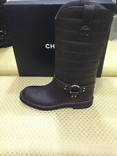 $1750 AUTHENTIC CHANEL OILY CAL LEATHER BIKER MOTORCYCLE BOOTS SHOES EU 40,5