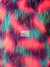 FAUX FAKE FUR 3 TONE RAINBOW SHINY TINSEL LONG PILE FABRIC Fuchsia/Purple/Blue