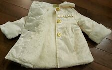 Penelope Mack 18 mth girl toddler coat jacket white faux fur satin lace