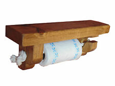 kitchen towel holder with rustic wooden shelf and chunky rope. solid pine shelf