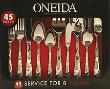 Oneida Tuscany 45-Piece Flatware Set NEW Tableware Silverware Knife Spoon Fork