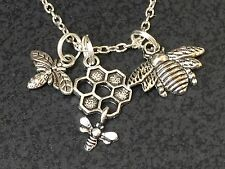"Honeycomb Bee Charm Tibetan Silver with 18"" Necklace"