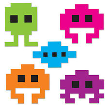 TOTALLY 80'S ICONS SPACE INVADERS STYLE BIRTHDAY PARTY CUTOUTS x10!