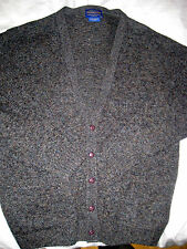 PENDLETON LUXURY SOFT HEATHER BLUE GRAY FLECK SHETLAND WOOL CARDIGAN SWEATER-XL