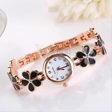 Womens Girl Charismatic Fashion Daisies Flower Rose Golden Bracelet Wrist Watch