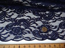 "NEW High Class Designer Navy Stretch Net Guipure Floral Scalp Lace Fabric 60""151"