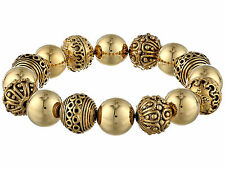 LAUREN Ralph Lauren 'Beaded Delight' Gold-Tn Textured Bead Stretch Bracelet NWOT