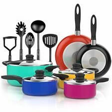 Vremi 15 Piece Nonstick Color Pop Cookware Set; 4 Pots with 4 Lids 2 Pans and...