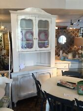 Vintage Shabby Chic Painted White Vintage Corner Cabinet Glass Doors Two Piece