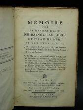 MARET Bains d'EAU Douce & Mer THERMES Bienfaits Médecine EDITION ORIGINALE 1769
