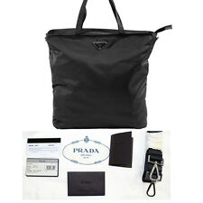 NEW PRADA Black Nero Vela NYLON TOTE Shopping BAG w/ STRAP CARDS DUSTNBAG & BOX