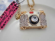 Betsey Johnson fashion inlay Crystal Camera Pendant Necklace # F248C