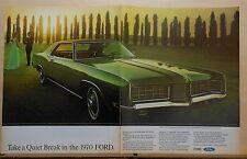 1969 two page magazine ad for Ford - green 1970 LTD Brougham, Take A Quiet Break