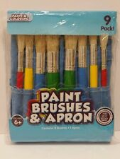 Children 9 Pieces Paint Brushes and Apron Fun Coloring Set Preschool Fun Crafts