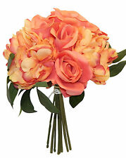 CORAL REEF SALMON Roses Peonies Bouquet Bridal Silk Wedding Flowers Centerpieces