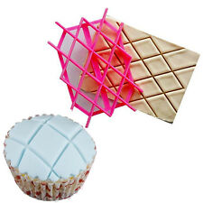 Cake Fondant Embosser Diamond Cutter Icing Cupcake Embossing Mold Mould Tools ++