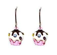 Chocolate Girls Cute Swarovski Crystal Sprinkle Topping Pink Cup Cake Earrings