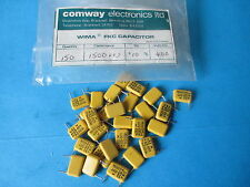 VINTAGE WIMA CAPACITORS x 28. 1500pF 400V. N.O.S. PITCH 35mm