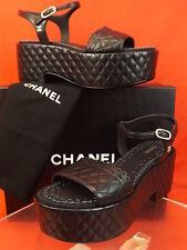 15K NIB CHANEL BLACK QUILTED LASER CUT LEATHER CC LOGO PLATFORM SANDALS 38 $1K