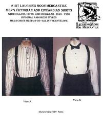 Men's 1800's Victorian Edwardian Shirts Costume Laughing Moon Sewing Pattern 107