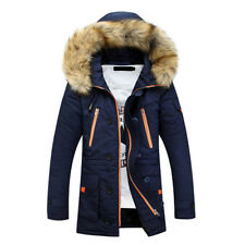 Korean Mens Casual Hooded ThickPadded Coat Parka Long Warm Jackets Tops Winter