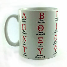 GREEK ALPHABET MUG ALPHA TO OMEGA AND PRONUNCIATIONS GIFT MUG CUP PRESENT GREECE