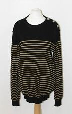 BALMAIN Ladies Black Golden Striped Knitted Long Sleeve Crew Neck Jumper L