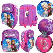 "Disney Frozen 16"" backpack purple Elsa and Anna rucksack school bag Girls"