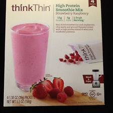 thinkThin High Protein Smoothie Mix Strawberry Raspberry~4 Packets