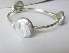 Huge Lustrous Natural  Pale Gray Baroque Coin Pearl Bangle Bracelet