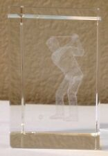 3D Crystal Glass Laser Etched Cube Paperweight Golf Player