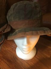 """Quirky Vintage Waterproof Waxed Hat With Bow Sleepy Hollow Size S 21"""" Circ"""