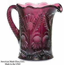 Amethyst Glass Inverted Thistle Pattern Pitcher - Mosser USA