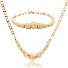18K Gold Filled Textured Balls Bracelet Curb Chain Necklace Wedding Jewelry Sets